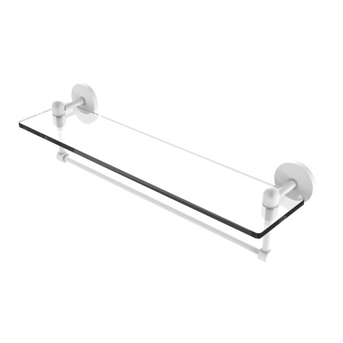 Tango Matte White 22-Inch Glass Vanity Shelf with Integrated Towel Bar