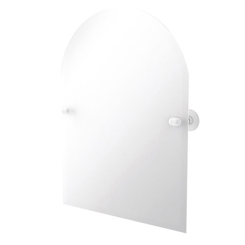 Tango Matte White 21-Inch Frameless Arched Top Tilt Mirror with Beveled Edge