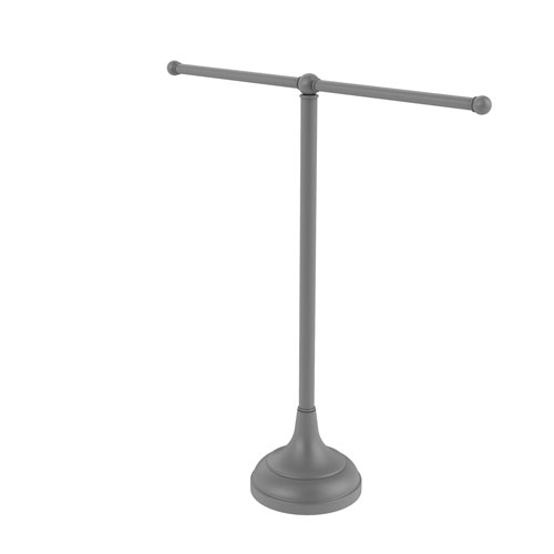 Matte Gray Six-Inch Vanity Top Two Arm Guest Towel Holder