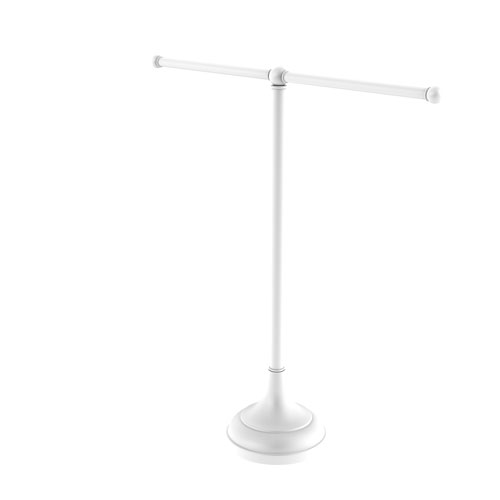 Matte White Six-Inch Vanity Top Two Arm Guest Towel Holder