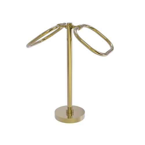 Unlacquered Brass Six-Inch Two Ring Oval Guest Towel Holder