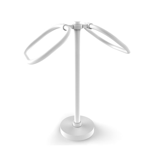 Matte White Six-Inch Two Ring Oval Guest Towel Holder