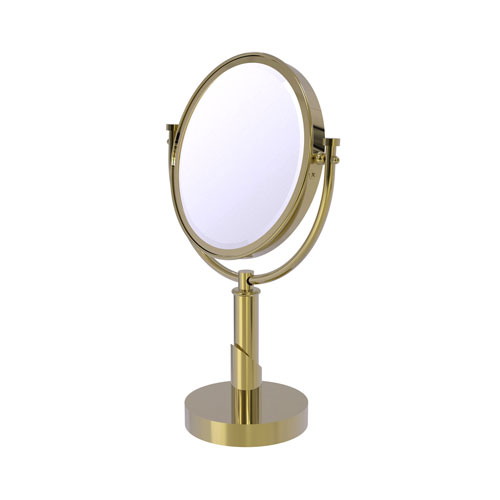 Tribecca Unlacquered Brass Eight-Inch Vanity Top Make-Up Mirror 2X Magnification