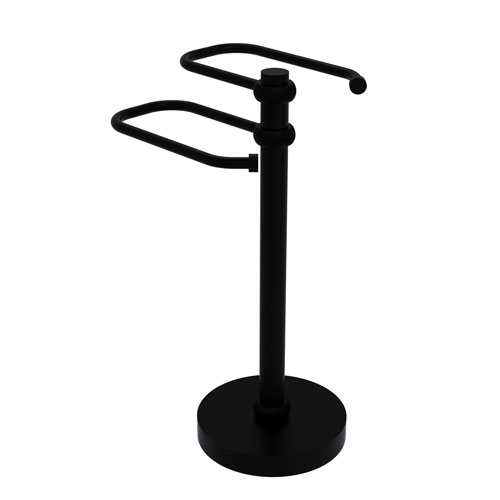 Matte Black Eight-Inch Free Standing Two Arm Guest Towel Holder with Twisted Ring Detail
