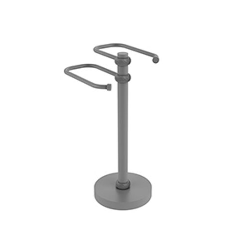 Matte Gray Eight-Inch Free Standing Two Arm Guest Towel Holder with Twisted Ring Detail