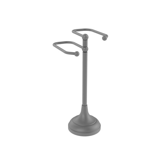 Matte Gray Six-Inch Free Standing Two Arm Guest Towel Holder