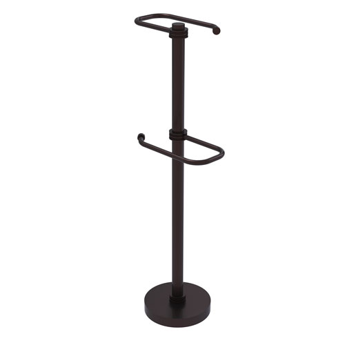Antique Bronze Six-Inch Free Standing Two Roll Toilet Tissue Stand