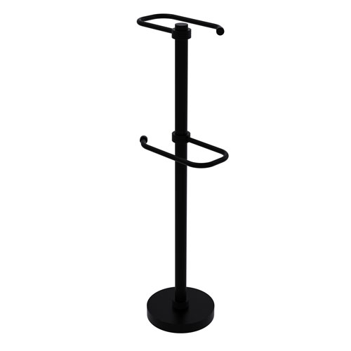 Matte Black Six-Inch Free Standing Two Roll Toilet Tissue Stand