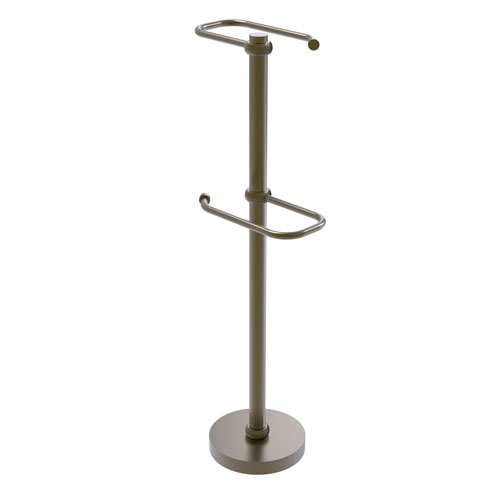 Antique Brass Six-Inch Free Standing Two Roll Toilet Tissue Stand