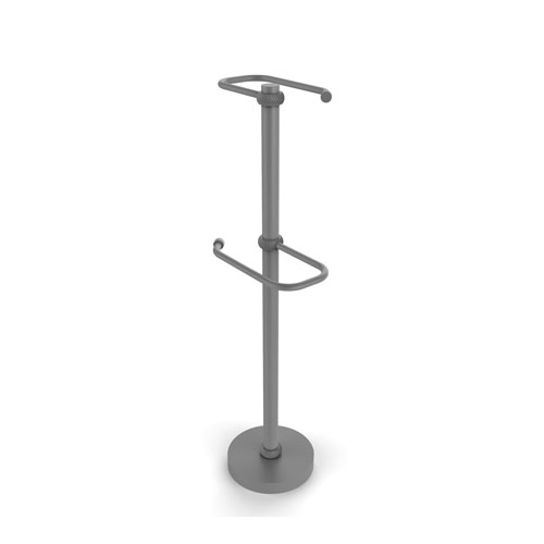 Matte Gray Six-Inch Free Standing Two Roll Toilet Tissue Stand