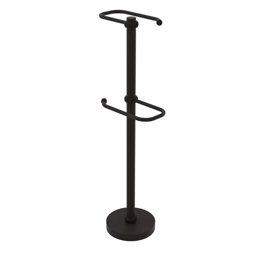 Oil Rubbed Bronze Six-Inch Free Standing Two Roll Toilet Tissue Stand