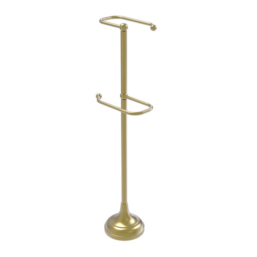 Satin Brass Six-Inch Free Standing Two Roll Toilet Tissue Stand