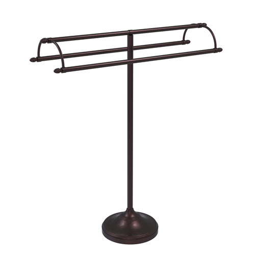 Antique Bronze 31-Inch Free Standing Double Arm Towel Holder