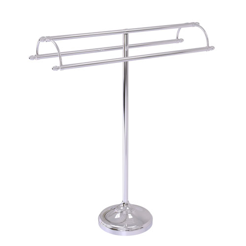 Polished Chrome 31-Inch Free Standing Double Arm Towel Holder