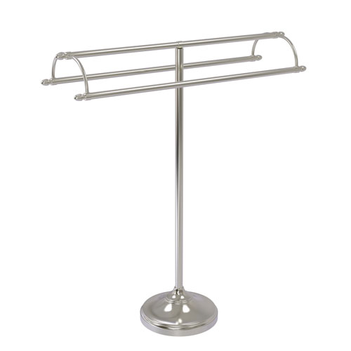 Satin Nickel 31-Inch Free Standing Double Arm Towel Holder