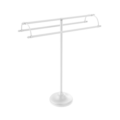 Matte White 31-Inch Free Standing Double Arm Towel Holder