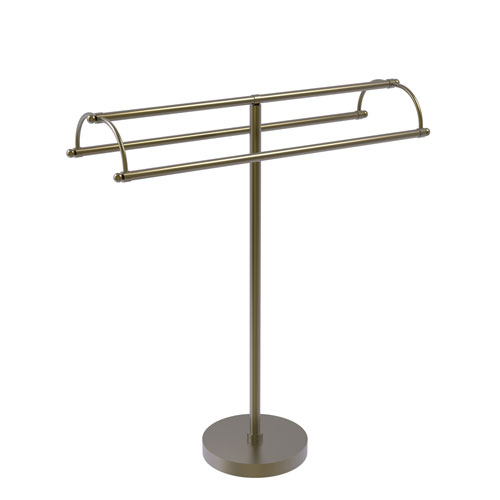 Antique Brass 31-Inch Free Standing Double Arm Towel Holder