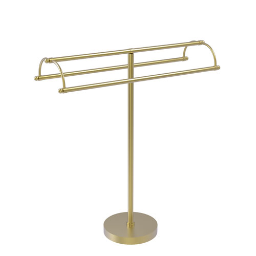 Satin Brass 31-Inch Free Standing Double Arm Towel Holder