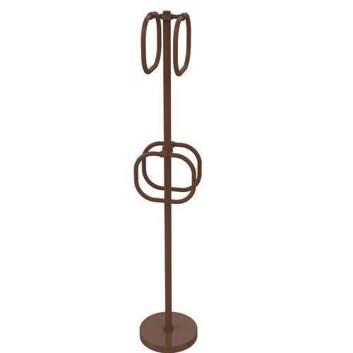 Antique Bronze Nine-Inch Towel Stand with Four Integrated Towel Rings