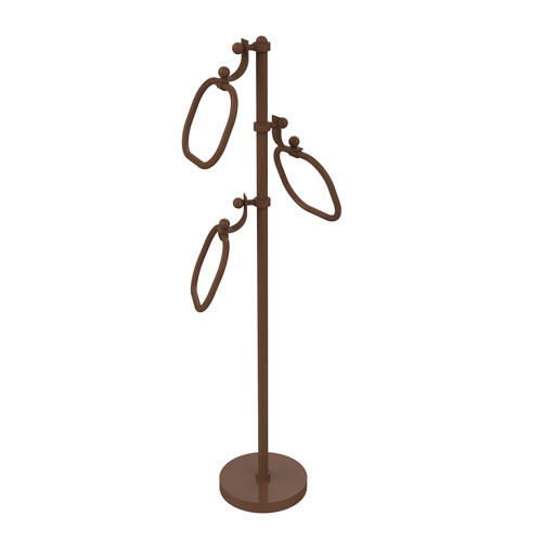 Antique Bronze Nine-Inch Towel Stand with Oval Towel Rings