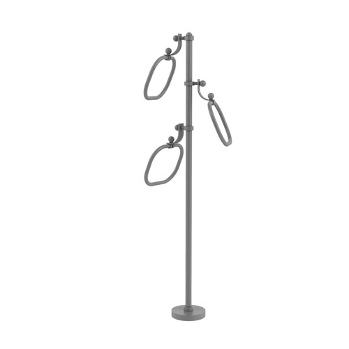 Matte Gray Nine-Inch Towel Stand with Oval Towel Rings