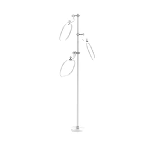 Matte White Nine-Inch Towel Stand with Oval Towel Rings with Dotted Ring Detail