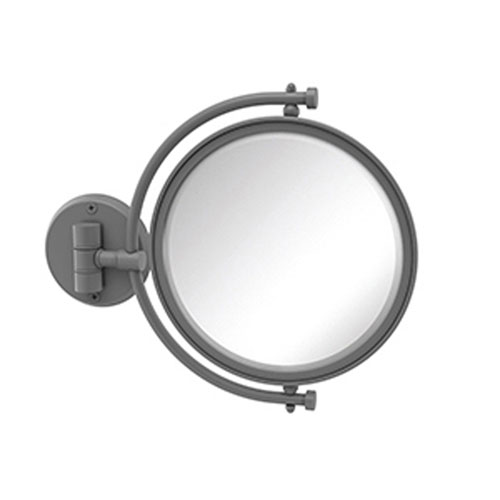 Matte Gray Eight-Inch Wall Mounted Make-Up Mirror 2X Magnification