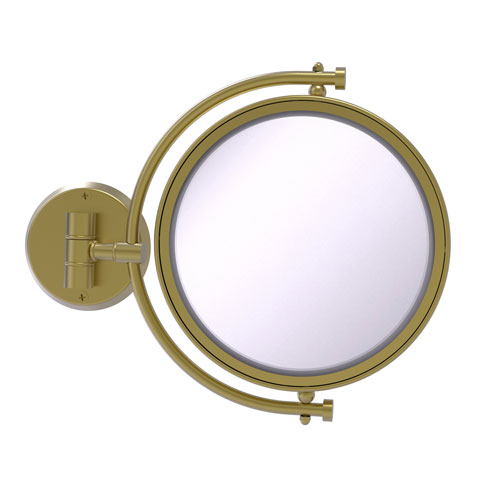Satin Brass Eight-Inch Wall Mounted Make-Up Mirror 2X Magnification