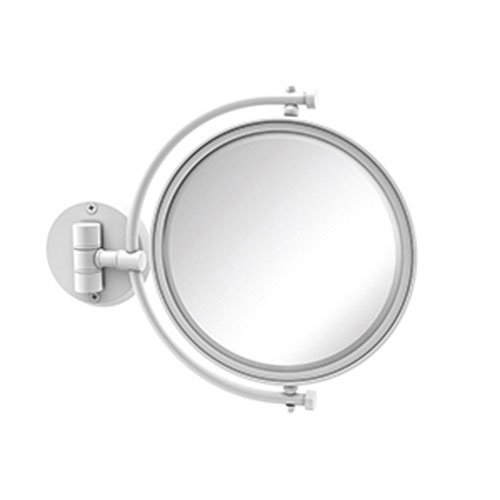 Matte White Eight-Inch Wall Mounted Make-Up Mirror 4X Magnification