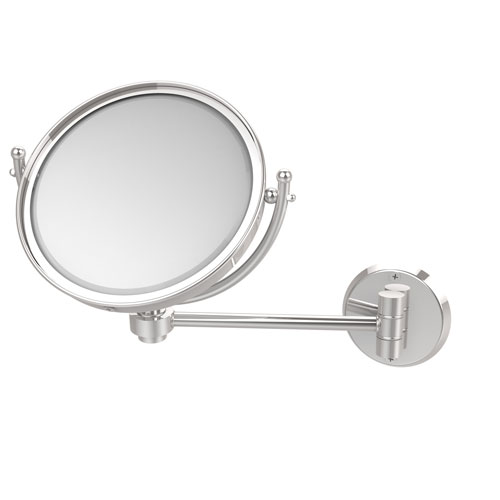 Polished Chrome Eight-Inch Wall Mounted Make-Up Mirror 2X Magnification