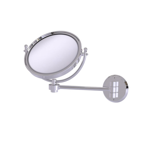 Polished Chrome Eight-Inch Wall Mounted Make-Up Mirror 5X Magnification