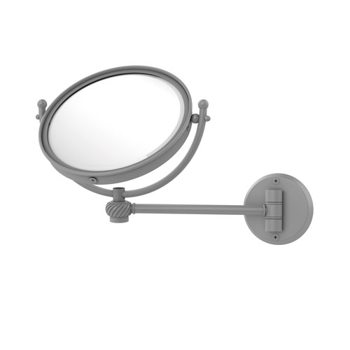 Matte Gray Eight-Inch Wall Mounted Make-Up Mirror 5X Magnification