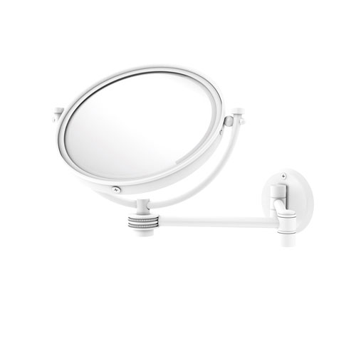 Matte White Eight-Inch Wall Mounted Extending Make-Up Mirror 4X Magnification with Dotted Accent