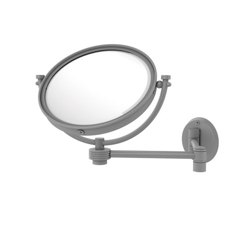 Matte Gray Eight-Inch Wall Mounted Extending Make-Up Mirror 2X Magnification with Groovy Accent