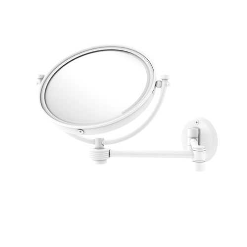 Matte White Eight-Inch Wall Mounted Extending Make-Up Mirror 4X Magnification with Groovy Accent