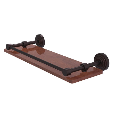Waverly Place Antique Bronze 16-Inch Solid IPE Ironwood Shelf with Gallery Rail