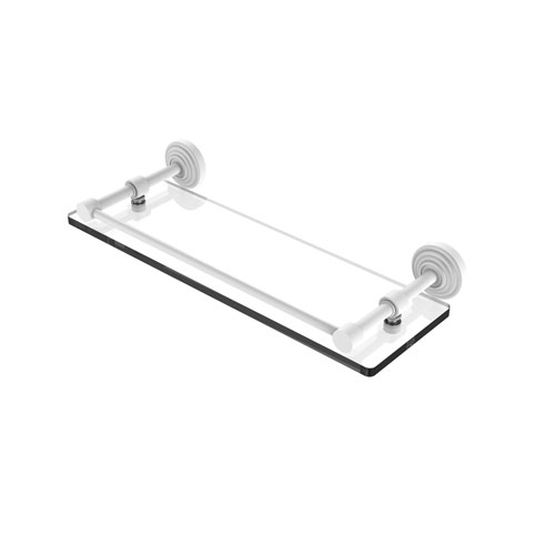Waverly Place Matte White 16-Inch Tempered Glass Shelf with Gallery Rail