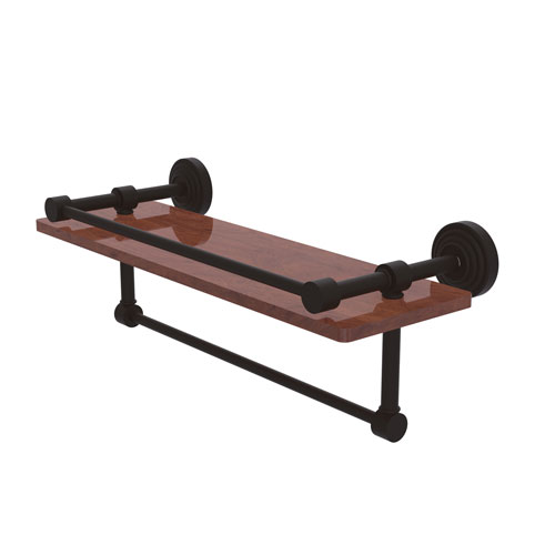 Waverly Place Oil Rubbed Bronze 16-Inch IPE Ironwood Shelf with Gallery Rail and Towel Bar