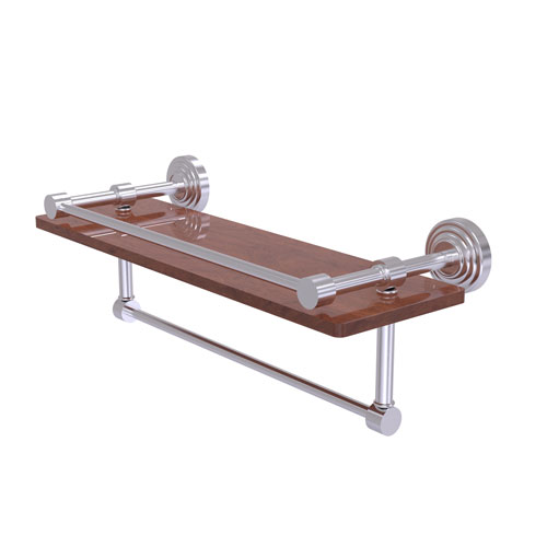 Waverly Place Satin Chrome 16-Inch IPE Ironwood Shelf with Gallery Rail and Towel Bar