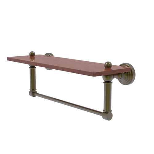 Waverly Place Antique Brass 16-Inch Solid IPE Ironwood Shelf with Integrated Towel Bar