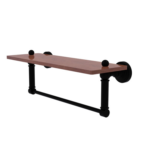 Waverly Place Matte Black 16-Inch Solid IPE Ironwood Shelf with Integrated Towel Bar