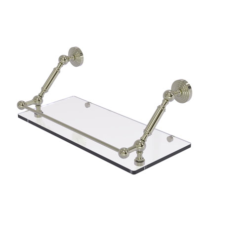 Waverly Place Polished Nickel 18-Inch Floating Glass Shelf with Gallery Rail