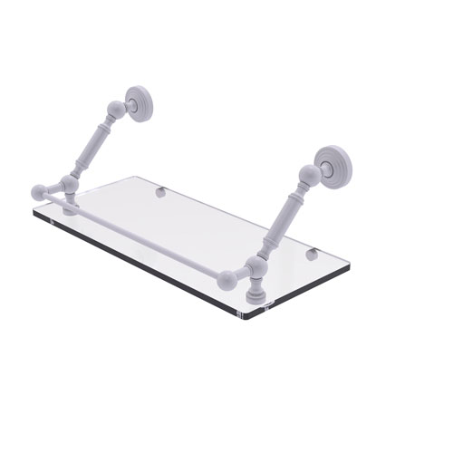 Waverly Place Matte White 18-Inch Floating Glass Shelf with Gallery Rail