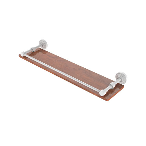Waverly Place Matte White 22-Inch Solid IPE Ironwood Shelf with Gallery Rail