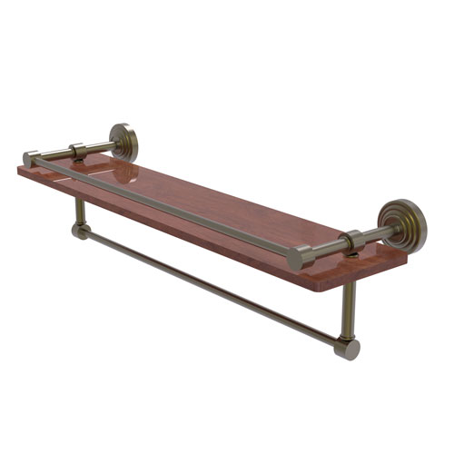 Waverly Place Antique Brass 22-Inch IPE Ironwood Shelf with Gallery Rail and Towel Bar