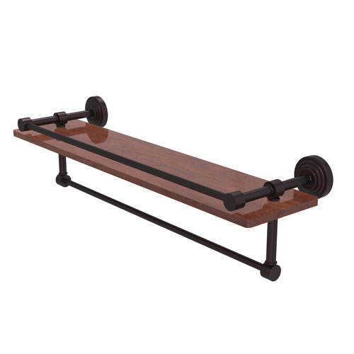 Waverly Place Antique Bronze 22-Inch IPE Ironwood Shelf with Gallery Rail and Towel Bar