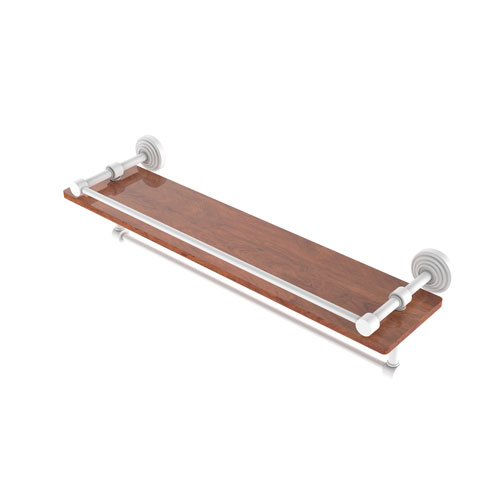 Waverly Place Matte White 22-Inch IPE Ironwood Shelf with Gallery Rail and Towel Bar