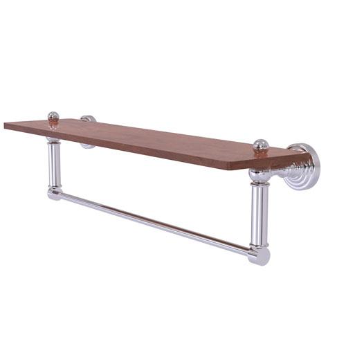 Waverly Place Polished Chrome 22-Inch Solid IPE Ironwood Shelf with Integrated Towel Bar