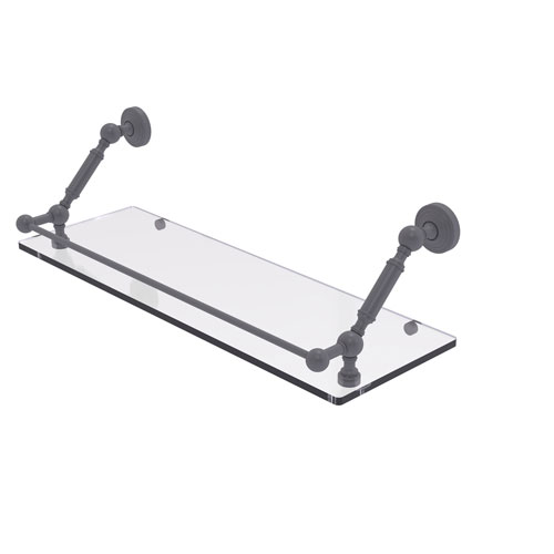 Waverly Place Matte Gray 24-Inch Floating Glass Shelf with Gallery Rail