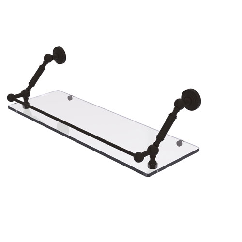 Waverly Place Oil Rubbed Bronze 24-Inch Floating Glass Shelf with Gallery Rail